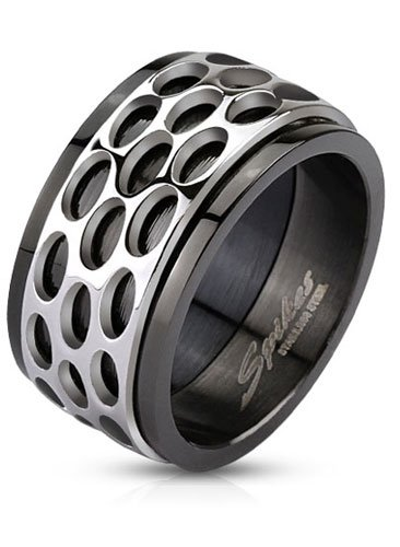 Stainless Steel Wide Black IP Plated Comfort-Fit Band Ring with Oval Pattern Design Center Spinner, Width 11.5MM - Crazy2Shop -