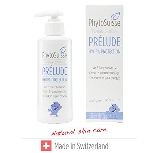 PhytoSuisse natürliches, extra schonendes Duschgel & Shampoo - Prélude Hydra Protection Hair & Body Shower Gel - für Allergiker und Baby geeignet, 200ml