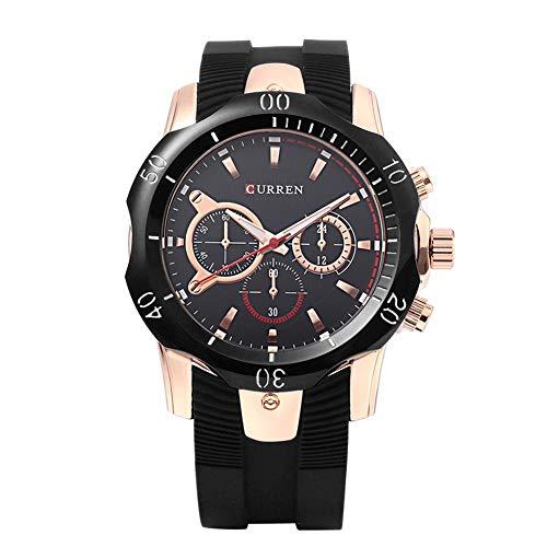 Curren 8163 50m Waterproof Silicone Strap Men Quartz Watch (Coffee+Blue): Amazon.es: Relojes
