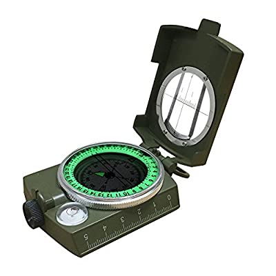 Compass,Banne Metal Waterproof Compass,Camping Compass Fluorescent Pointer Compass(Army Green) from Banne