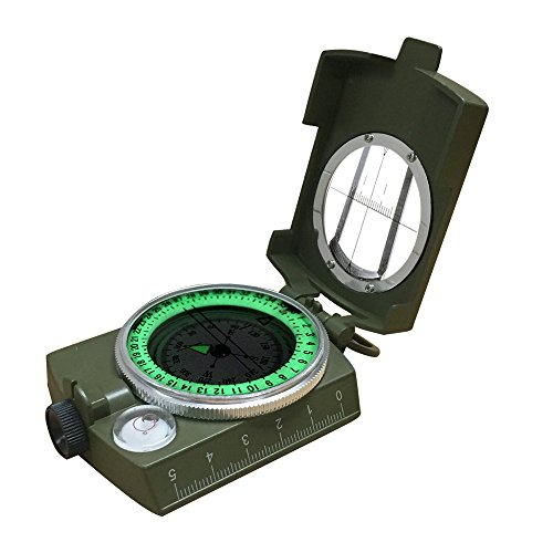 - Banne Compass, Waterproof Military Compass,Camping Compass Fluorescent Pointer Compass(Army Green)