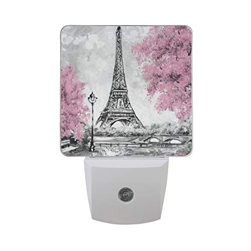 LED Night Light Watercolor Paris Eiffel Tower Nightlight Lamp Bed Lamp with Dusk to Dawn Sensor for Bedroom Bathroom Hallway Stairways Decorative Set of 2