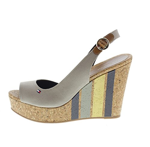 Tommy Hilfiger Wedge With Printed Stripes, Alpargata Para Mujer Beige