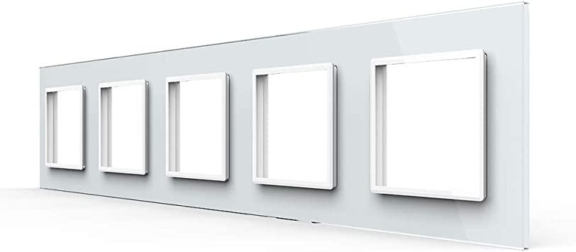 LIVOLO Nur Glasblende 5 Fach für Steckdosen VL-C7-SR//SR//SR//SR//SR-11-A Weiss