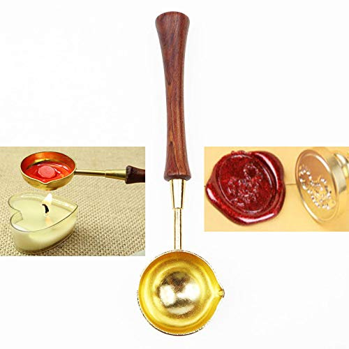 MNYR Vintage Elegant Wooden Handle Copper Wax Sealing Stamp Melting Spoon Gold Finish for Wax Seal Stamp Melting Spoon Lead Ladle Wedding Invitations Mass Making Wax Seal Gift Envelope Seal Spoon