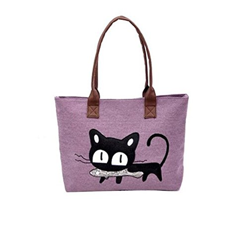 mujer Bolso morado mochila para de Lona LAAT 64wXqw