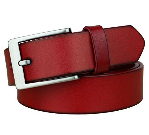 Bullko Men's Leather Casual Belt 33mm Width