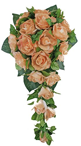 (Peach Silk Rose Cascade - Wedding Bouquet)