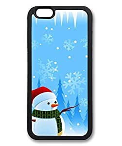 Black Case for iphone 6 Plus,Fashion Cool Art Snowman Custom Protective Soft PC Back Case Cover for iphone 6 Plus