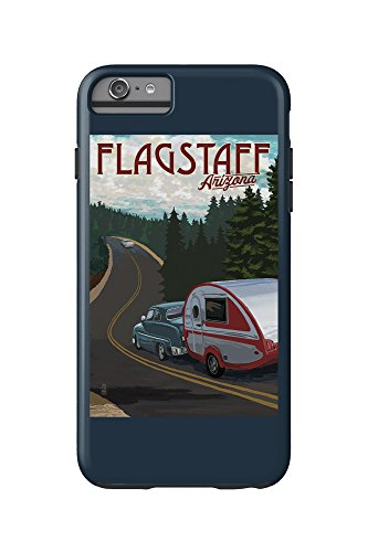 Flagstaff, Arizona - Retro Camper on Road (iPhone 6 Plus Cell Phone Case Cell Phone Case, Tough)
