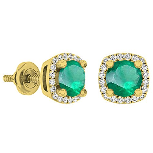 (Dazzlingrock Collection 14K 5 MM Each Round Lab Created Emerald & White Diamond Ladies Halo Stud Earrings, Yellow Gold)