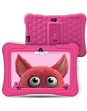 Dragon Touch Y88X Pro tablet dla dzieci z systemem Android 9.0, do nauki dla dzieci, 2 GB + 16 GB, ekran dotykowy IPS 7'', czujnik G, Google Play, fabrycznie zainstalowany z pokrowcem ochronnym (różowy)