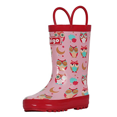 hibigo Children's Natural Rubber Rain Boots with Handles Easy for Little Kids & Toddler Girls, Red Owl ()