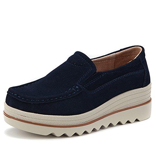 ZYEN-SZ3088shenlan42 Women Platform Wedge Shoes Comfortable Wide Slip On Loafers Suede Moccasins Walking Work Sneakers Navy Blue 9 B(M) US -
