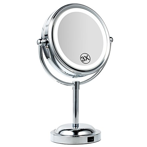 Makeup Mirror, BEW Round Double-Sided 360° Swivel 1X/3X Magnification Lighted Vanity Mirror, Valentine's Day Gift Polished Gilt