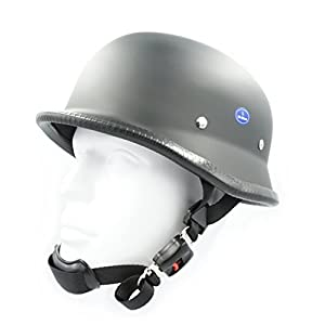 Hot Rides Classic Chopper Biker ATV Helmet Novelty (Non Dot) For Cruiser Harley Scooter German (Largr, Flat Black)