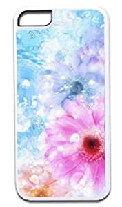 Pretty Flowers with Water Drops- Iphone 5C plastic WHITE case - compatible with iPhone 5C only