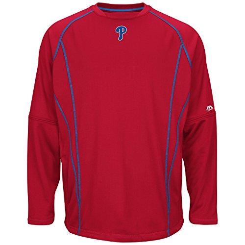 Majestic Philadelphia Phillies MLB Men's Red Authentic On-Field Practice Pullover Sweatshirt (S)