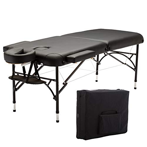 Artechworks 73″ Long 28″ Wide Lightweight Portable Massage Table w/Aluminium Leg, With Side Arm Rest, Black