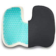Coccyx Orthopedic Memory Foam Seat Cushion Gel-Enhanced - Quality Comfort Ergonomically & Large Designed Pillow for Sciatica, Back Pain, Coccyx Pain & Tailbone Pain Relief, Chair Support By ZIRAKI