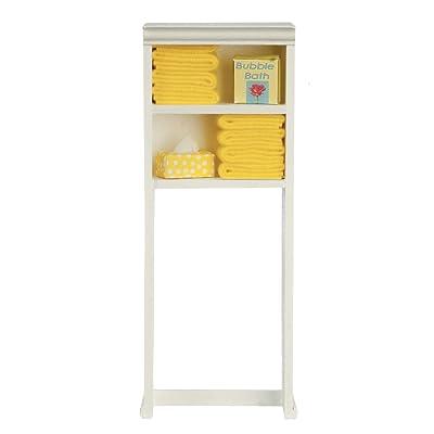 Melody Jane Dollhouse Over Toilet Shelf Unit Lemon Towels & Accessories Bathroom Furniture: Toys & Games