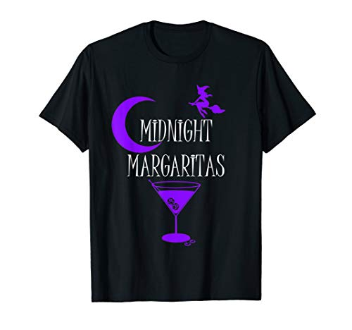 Funny Midnight Margaritas T-shirt Witch Halloween Drinking