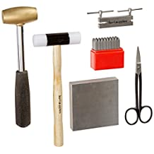 Kent Supplies Metal Stamping Starter Kit with Letter Stamps, Mallet, Bench Block, Shears and Hole Punch