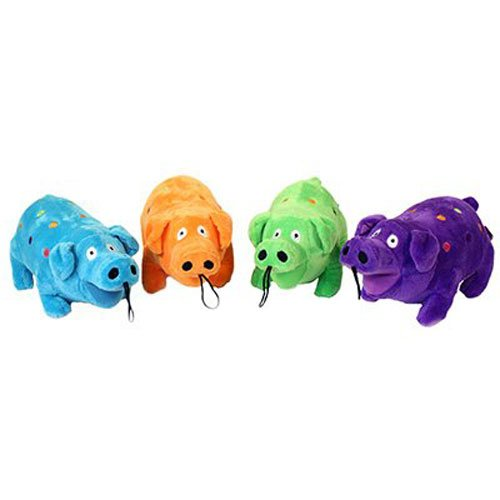 Toy Plush Rubber Dog (Multipet Plush Polka Dot Goblet Pig that Grunts, 9-Inch)