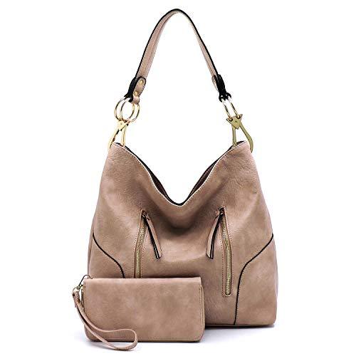 Vegan Faux Leather Bucket Shoulder Handbag Classic Purse with Matching Wallet 2pcs set (Blush)