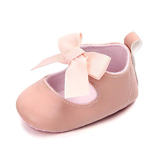 (Enteer Baby Girls' Bow-Knot Elastic Mary Jane Shoes Pink US 4)