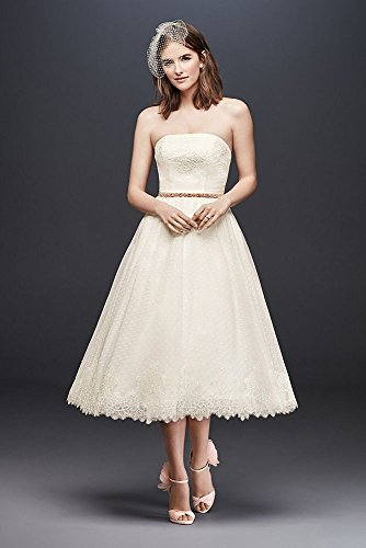 Ivory Style Tulle Dress Dotted Bridal Tea David's WG3858 Length Wedding Lace Ov8nwa