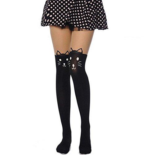 Fishnet Women's Stockings Skull Mesh See Thigh Hi Black Lace Tights Pantyhose Legging (Cat Pattern)]()
