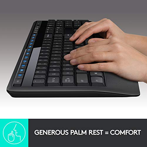 Logitech MK345 Wireless Combo Full-Sized Keyboard with Palm Rest and Comfortable Right-Handed Mouse - Black