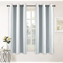PONY DANCE Room Darkening Curtains for Kitchen Windows Ring Top Blackout Curtain Panels Window Treatment Drapes Home Decoration Energy Saving for Hotel, 42 x 45 inch, Greyish White, Double Panels