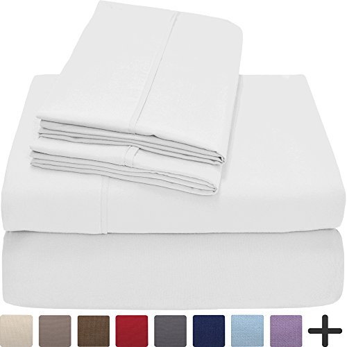 Premium 1800 Ultra-Soft Microfiber Sheet Set Full Extra Long - Double Brushed - Hypoallergenic - Wrinkle Resistant (Full XL, White) - Premium Full Bedding Set