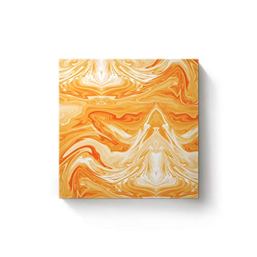 Square Canvas Wall Art Oil Painting for Bedroom Living Room Home Decor,Orange Marble Tiles Office Artworks,Stretched by Wooden Frame,Ready to Hang,16 x 16 Inch