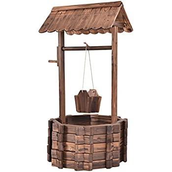 amazon com castlecreek wood wishing well planter garden outdoor