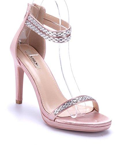 Schuhtempel24 Damen Schuhe Sandaletten Sandalen Stiletto Ziersteine 10 cm High Heels Rosa