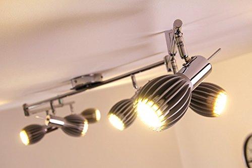 Lampada da soffitto sei punti luce plafoniera faretti color cromo
