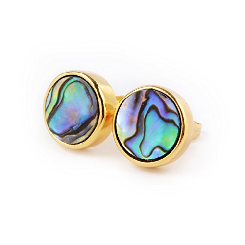 Round Earrings Abalone (ZENGORI 12mm Natural Coral Abalone Shell Round 18K Gold Plated Post Stud Earrings)