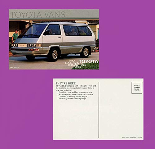 1986 TOYOTA VAN LE VINTAGE FACTORY COLOR POSTCARD - USA - GREAT ORIGINAL POST CARD !!
