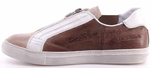 La Martina Scarpe Sneakers Uomo L3000200 Camoscio Panna Plutone Visone Italy New
