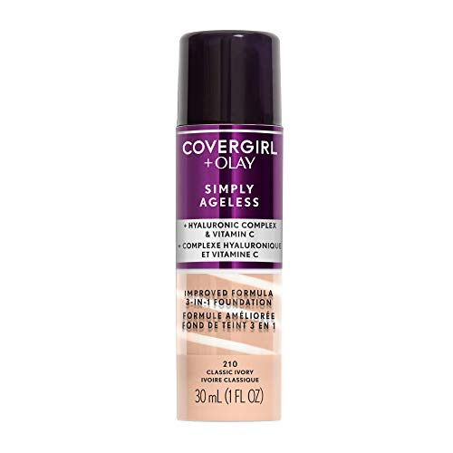 COVERGIRL + Olay Simply Ageless 3-in-1 Liquid Foundation, the #1 Anti-Aging Foundation Now In A Liquid, Classic Ivory Color, 1 Count (packaging may vary) ()
