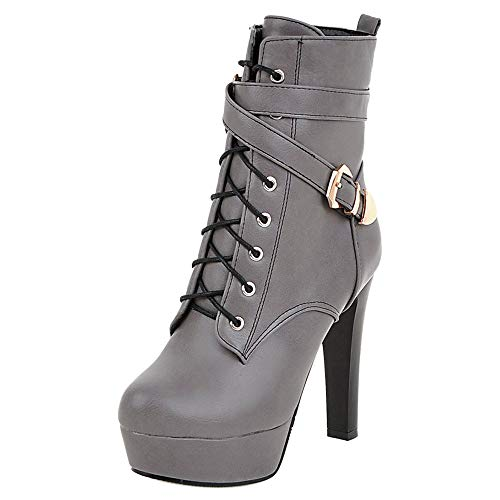 JOJONUNU Women Chunky Heel Ankle Boots Zip Gray