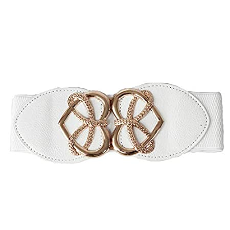 71206a6ef Trimming Shop White Waist Belt For Women Ladies Girls With Golden Heart  Shape Buckle, Stretchable