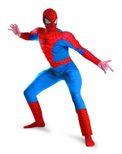 Disguise Men's Marvel Spider-Man Deluxe Muscle Costume, Blue/Red, XX-Large