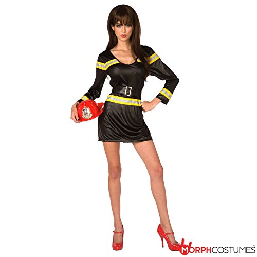 Womens Sexy Firewoman Uniform Fancy Dress Costume - 1 Piece Quality Costume,Black,Med UK 10-12 / US (Sexy Firewoman Costume)