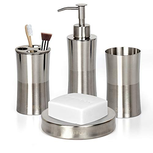 Bathroom Accessories Set, Stainless Steel 4 Pieces Includes Soap Dispenser, Toothbrush Holder, Tumbler, Soap Dish for Decorative Countertop and Housewarming Gift-Mirror and Brushed 2 Tone finish by ZUODU