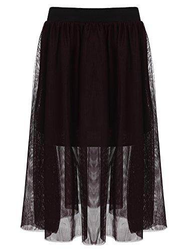 IN'VOLAND Women Plus Size Elastic Waist Ballet Layered Mesh Tulle Midi Skirt
