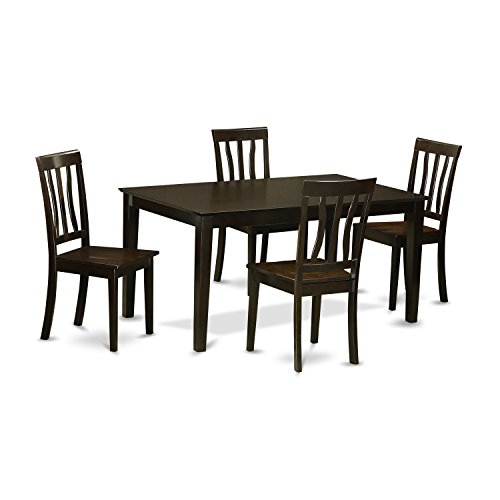 East West Furniture CAAN5-CAP-W 5Piece Dining Table Set for 4- Dining Table & 4 Wood Seat Dining Chairs
